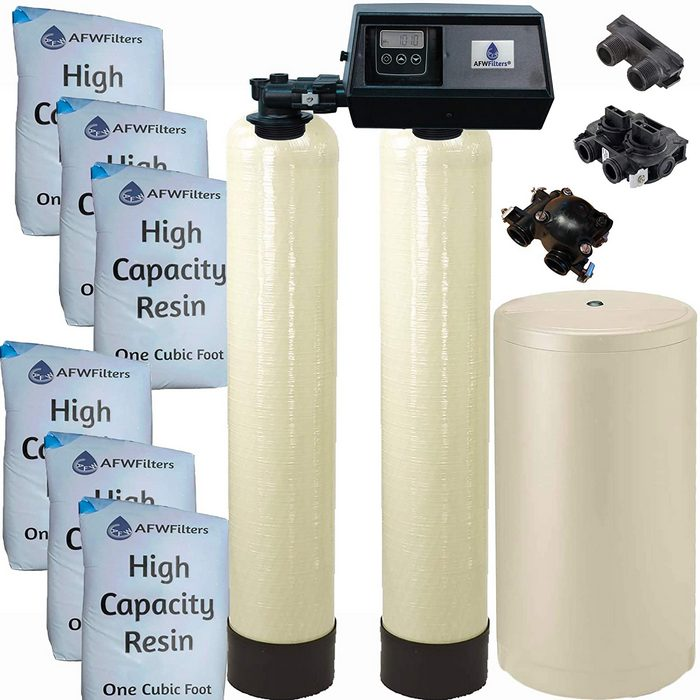 2. AFWFilters Dual Tank Water Softener 96,000 grain with Fleck 9100SXT [Review] - Best Dual Tank Water Softener for Well Water image